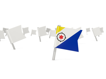 bonaire: Square pin with flag of bonaire isolated on white