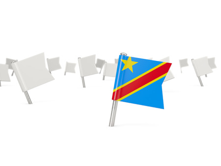 democratic: Square pin with flag of democratic republic of the congo isolated on white