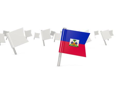 haiti: Square pin with flag of haiti isolated on white