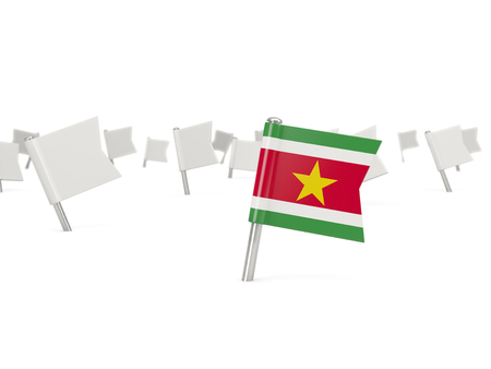 suriname: Square pin with flag of suriname isolated on white Stock Photo