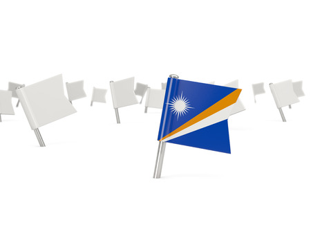 marshall: Square pin with flag of marshall islands isolated on white