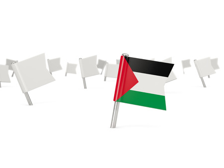 palestinian: Square pin with flag of palestinian territory isolated on white Stock Photo