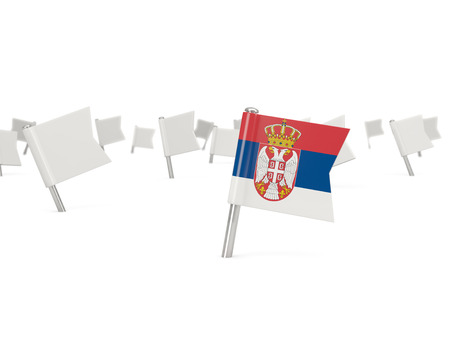serbia: Square pin with flag of serbia isolated on white Stock Photo