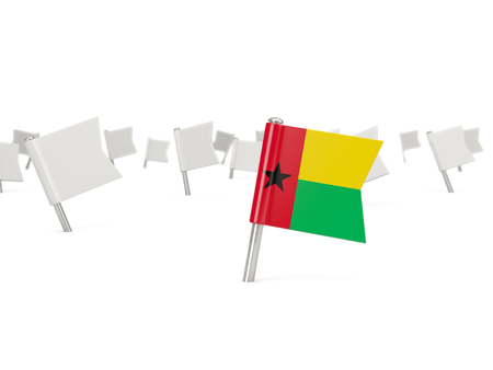 guinea bissau: Square pin with flag of guinea bissau isolated on white
