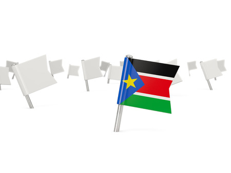 south sudan: Square pin with flag of south sudan isolated on white