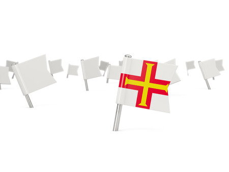 guernsey: Square pin with flag of guernsey isolated on white