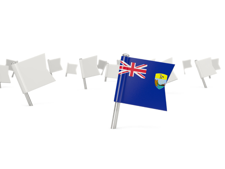 helena: Square pin with flag of saint helena isolated on white Stock Photo