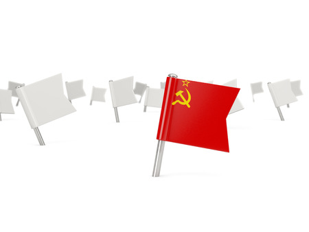 the ussr: Square pin with flag of ussr isolated on white Stock Photo