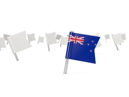 bandera de nueva zelanda: Square pin with flag of new zealand isolated on white