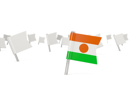 niger: Square pin with flag of niger isolated on white