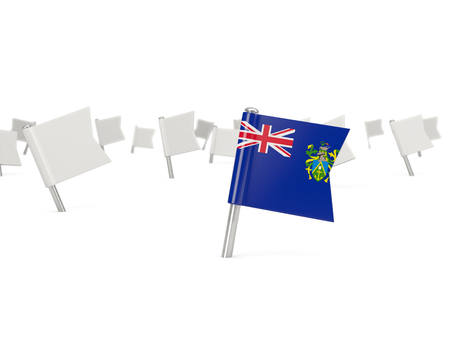 pitcairn: Square pin with flag of pitcairn islands isolated on white