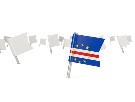cape verde: Square pin with flag of cape verde isolated on white Stock Photo