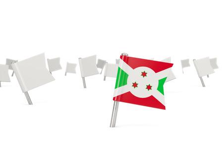 burundi: Square pin with flag of burundi isolated on white Stock Photo
