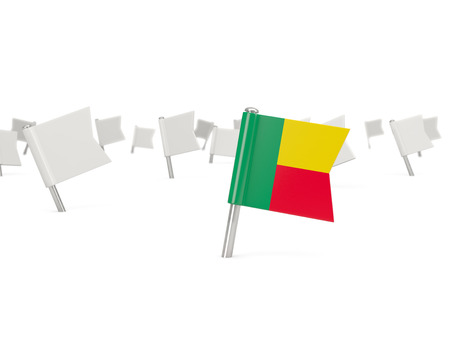 benin: Square pin with flag of benin isolated on white