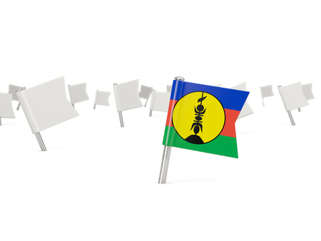 new caledonia: Square pin with flag of new caledonia isolated on white Stock Photo