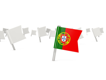 bandera de portugal: Square pin with flag of portugal isolated on white