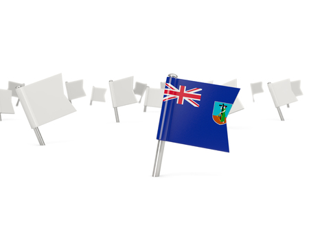 montserrat: Square pin with flag of montserrat isolated on white