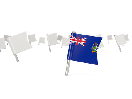 south georgia: Square pin with flag of south georgia and the south sandwich islands isolated on white Stock Photo