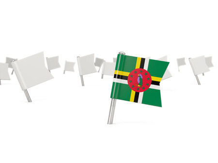 dominica: Square pin with flag of dominica isolated on white