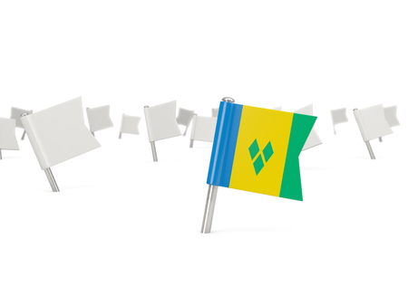 grenadines: Square pin with flag of saint vincent and the grenadines isolated on white