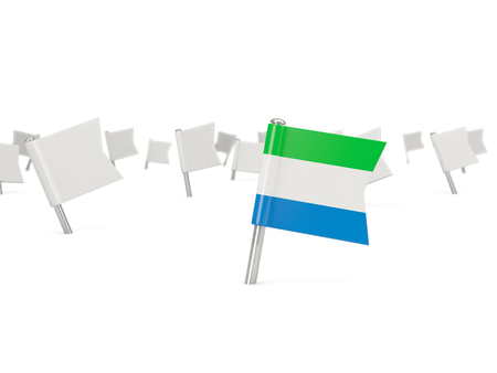 sierra: Square pin with flag of sierra leone isolated on white