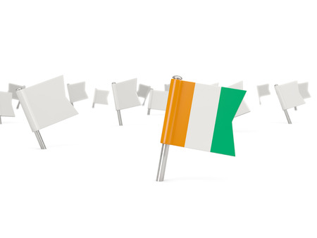 cote ivoire: Square pin with flag of cote d Ivoire isolated on white