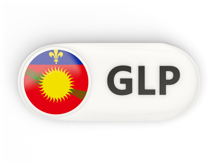 guadeloupe: Round icon with flag of guadeloupe and ISO code