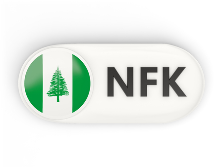 glossy button: Round icon with flag of norfolk island and ISO code
