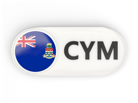 cayman islands: Round icon with flag of cayman islands and ISO code