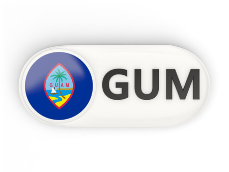 guam: Round icon with flag of guam and ISO code Stock Photo