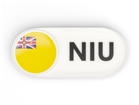niue: Round icon with flag of niue and ISO code Stock Photo