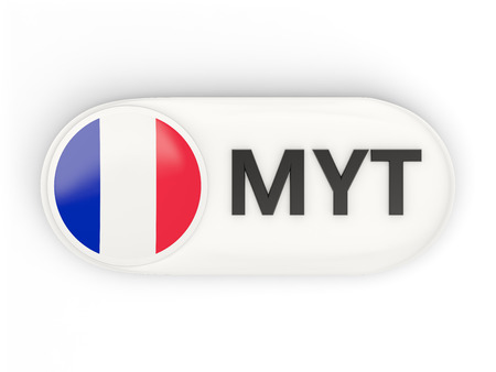 mayotte: Round icon with flag of mayotte and ISO code