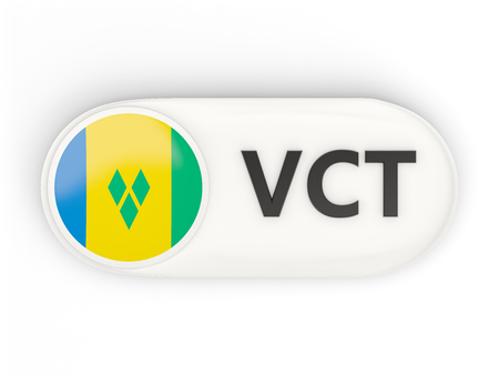 grenadines: Round icon with flag of saint vincent and the grenadines and ISO code