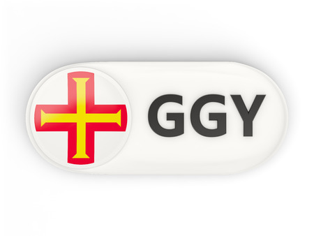 guernsey: Round icon with flag of guernsey and ISO code