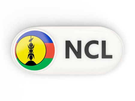 new caledonia: Round icon with flag of new caledonia and ISO code