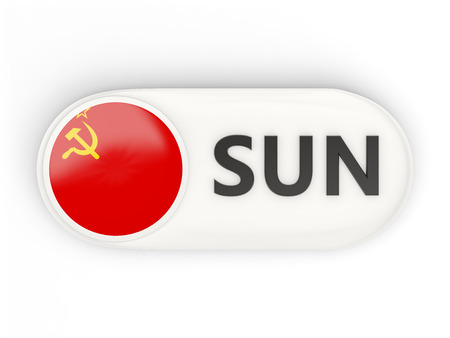 the ussr: Round icon with flag of ussr and ISO code Stock Photo