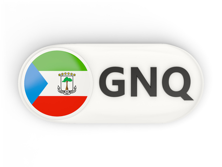 equatorial guinea: Round icon with flag of equatorial guinea and ISO code