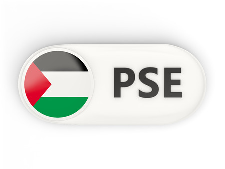 palestinian: Round icon with flag of palestinian territory and ISO code