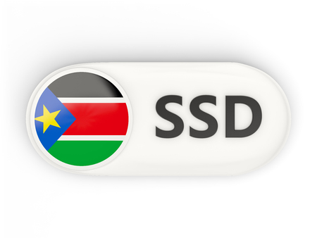 south sudan: Round icon with flag of south sudan and ISO code Stock Photo