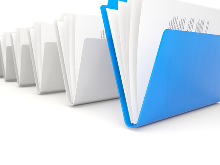 row: Blue folders in a row isolated on white