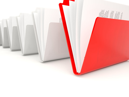 row: Red folder in a row isolated on white Stock Photo