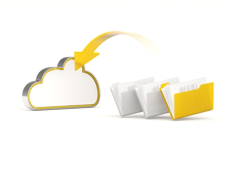 server storage: Yellow cloud drive icon with folders isolated on white Stock Photo