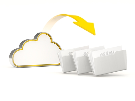 server icon: Yellow cloud drive icon with folders isolated on white Stock Photo