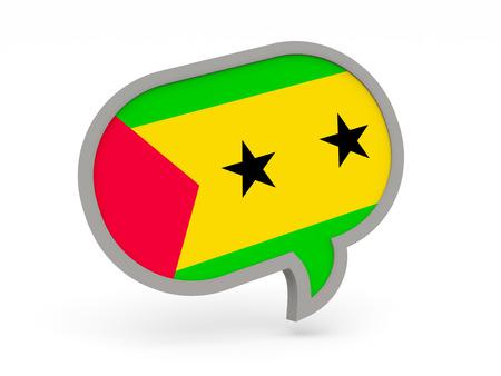 principe: Icono de chat con la bandera de Santo Tomé y Príncipe aislado en blanco