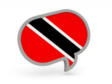 national flag trinidad and tobago: Chat icon with flag of trinidad and tobago isolated on white