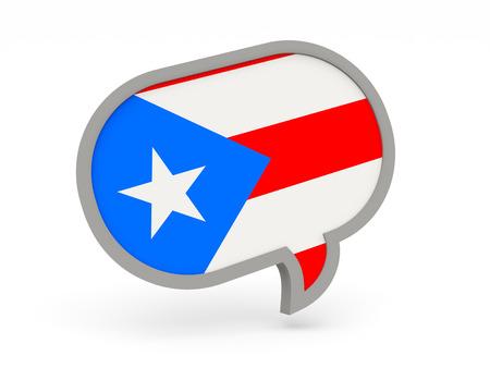 bandera de puerto rico: Icono de chat con la bandera de Puerto Rico aislado en blanco