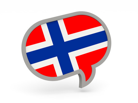 norway flag: Chat icon with flag of norway isolated on white