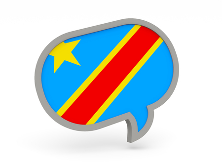 democratic: Chat icon with flag of democratic republic of the congo isolated on white