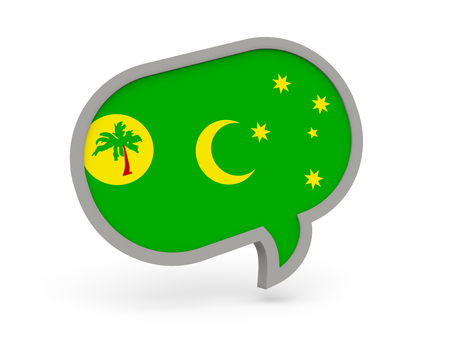cocos: Chat icon with flag of cocos islands isolated on white
