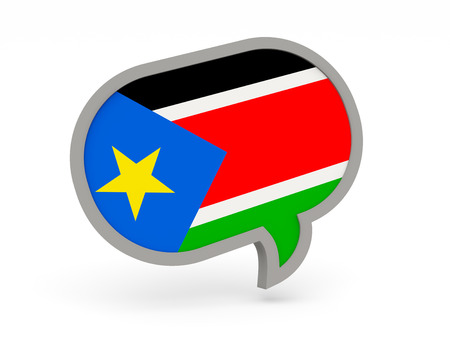 south sudan: Chat icon with flag of south sudan isolated on white